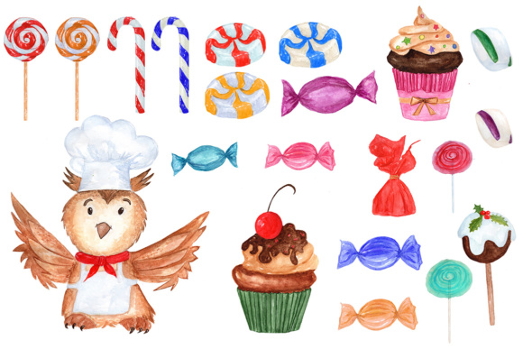 Watercolor Christmas Sweets,Cooking clipart.