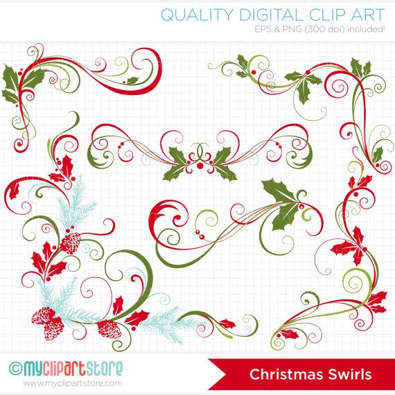 Decorative Flourish Swirls / Christmas Clip Art / Digital Clipart.
