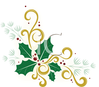 Royalty Free Clipart Image of Holly, Ivy And Pine In A Corner.