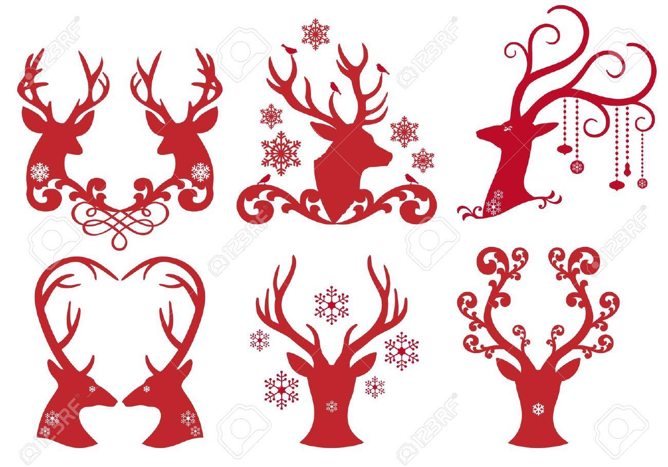 Christmas Swirls Clipart Silhouette.