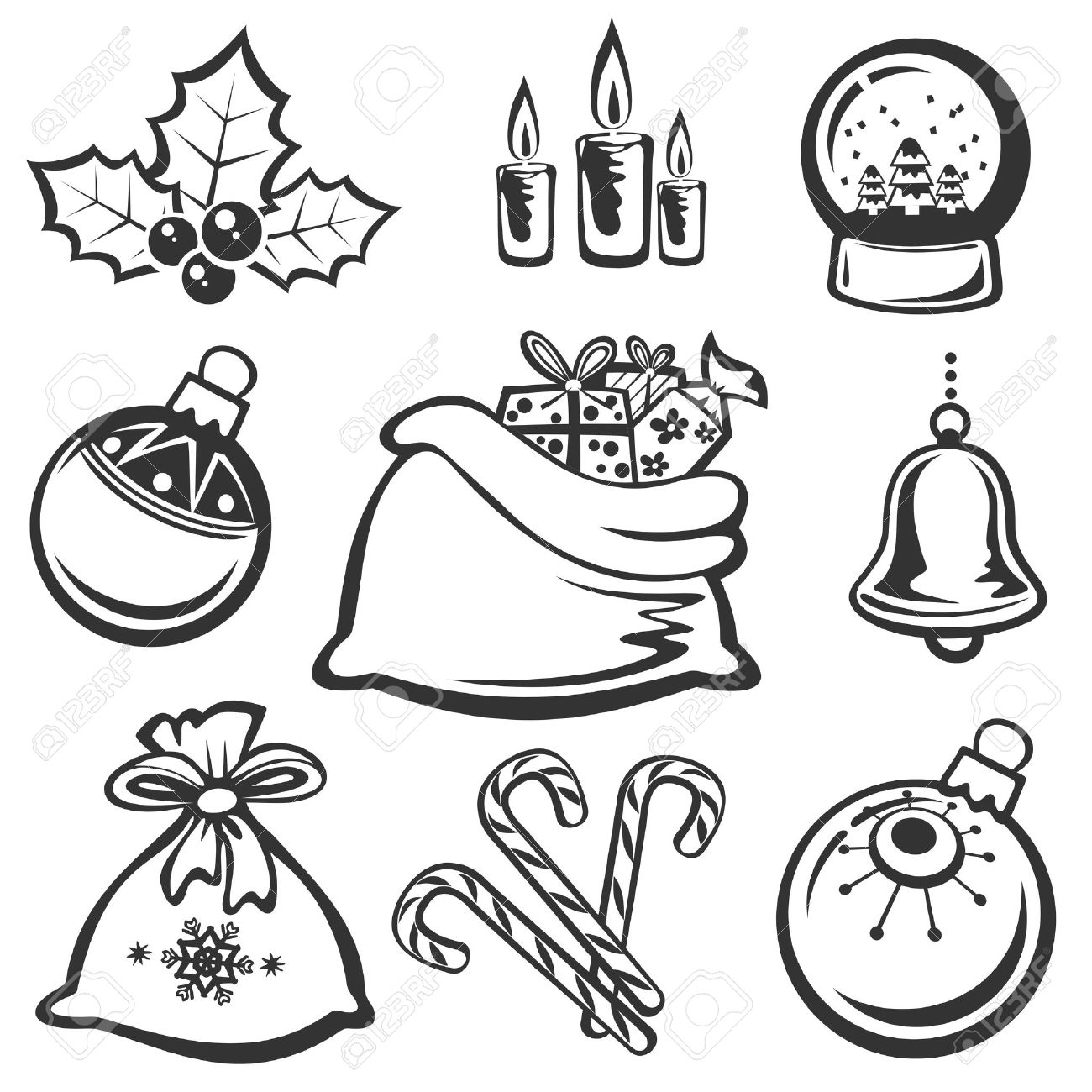 Cartoon Christmas symbols set isolated on a white background..