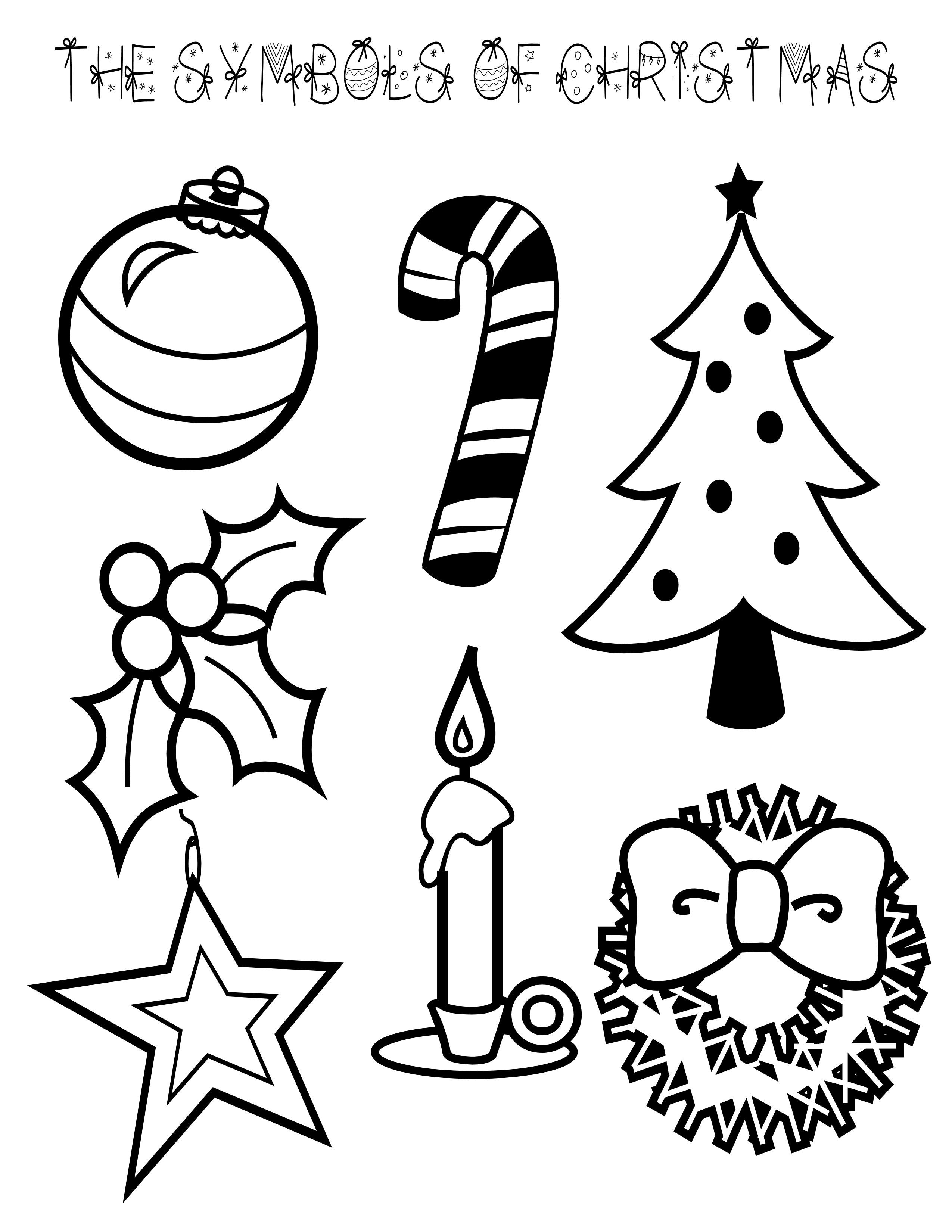 Symbols of Christmas Coloring Page.