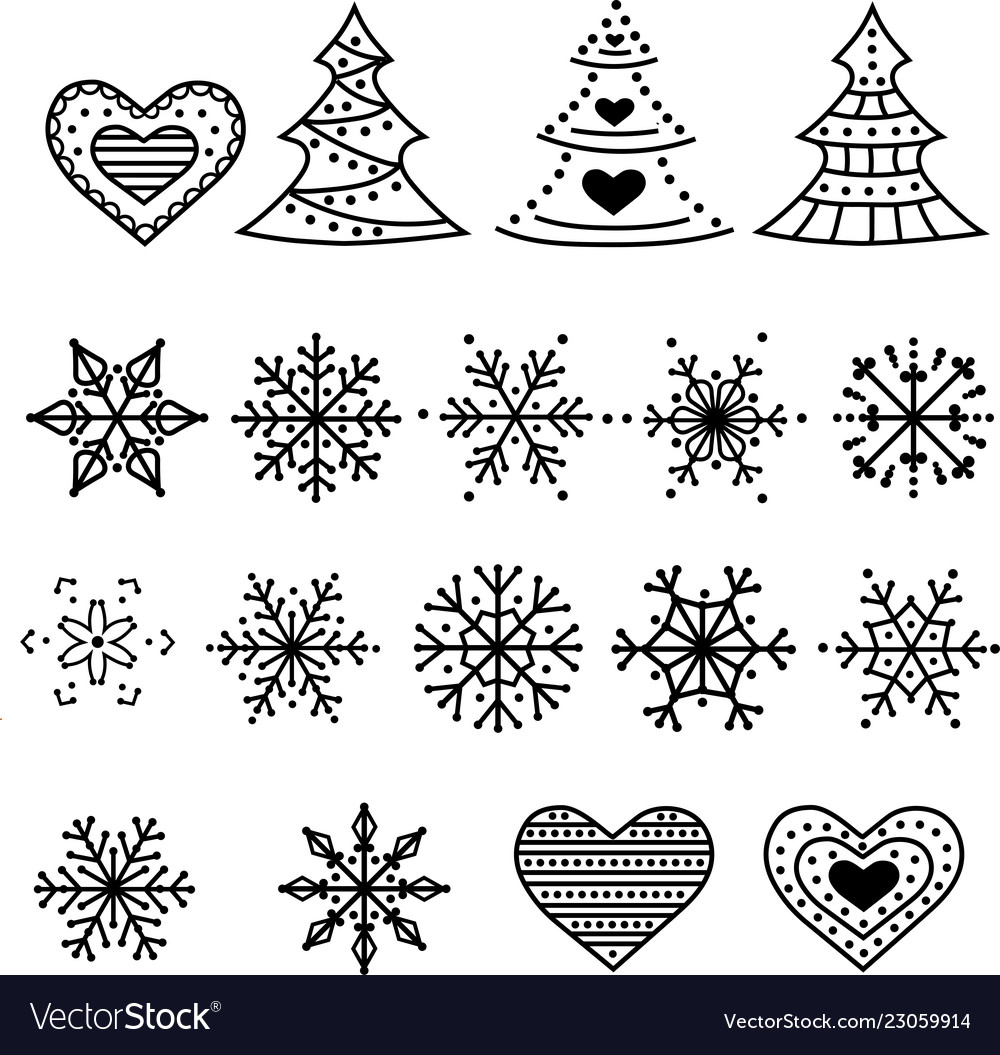 Christmas symbols collection isolated on white.