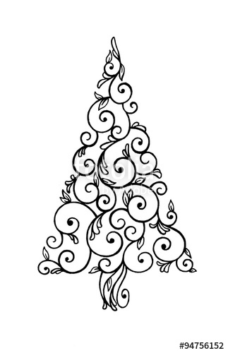 abstract Christmas tree illustration, hand drawn swirls and curls.