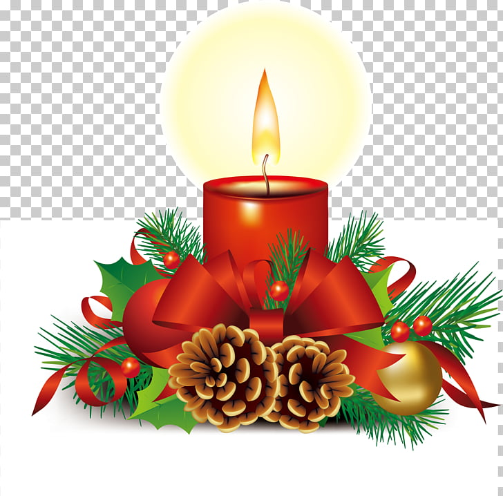 Santa Claus Christmas Symbol Illustration, Red bow candle.