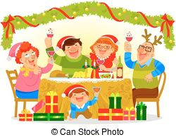 Clipart Vector of Family celebrating Christmas, isolated.