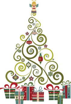 Abstract christmas table clipart.