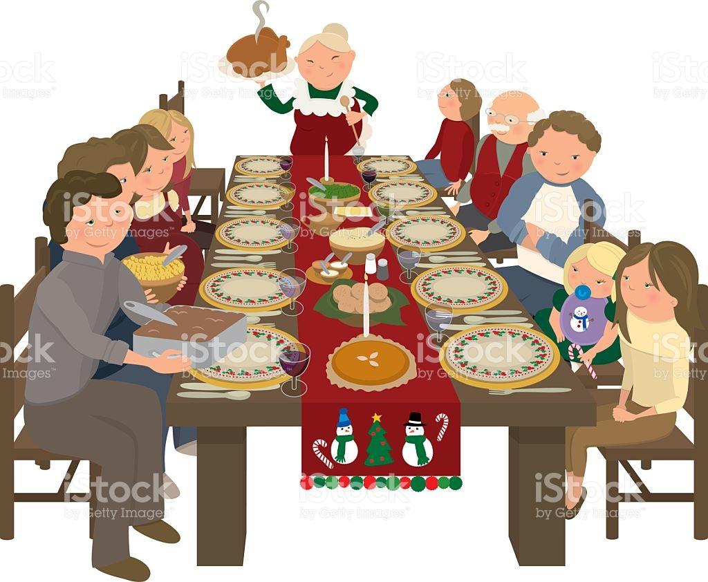 Family Christmas Dinner Table stock vector art 483321703.