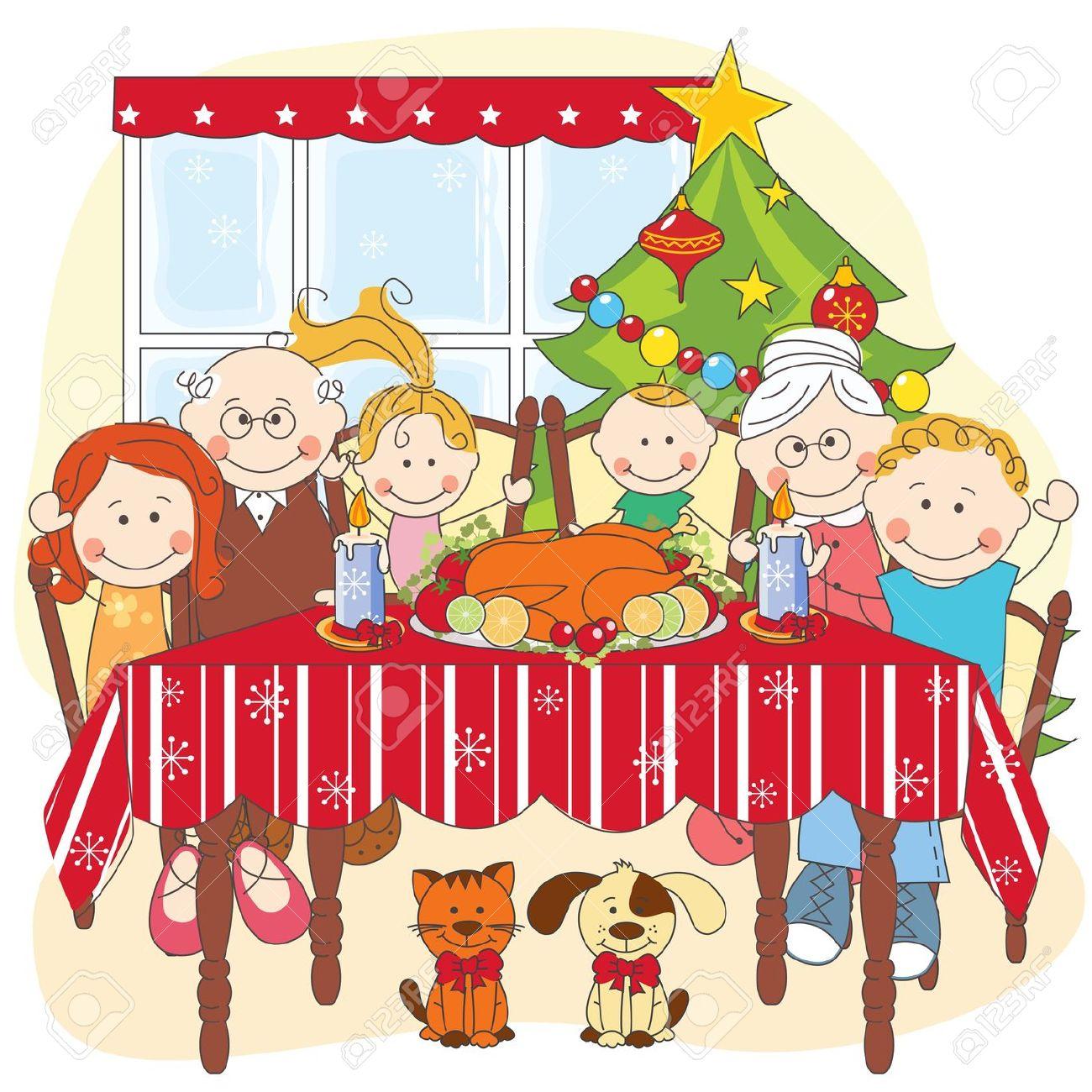 Christmas dinner table clipart.