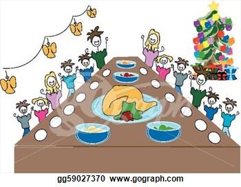 Clipart christmas dinner table.