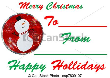 Stock Illustrations of A Christmas Santa signed gift tag isolated.