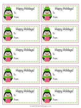 FREE Penguin Christmas Tags.