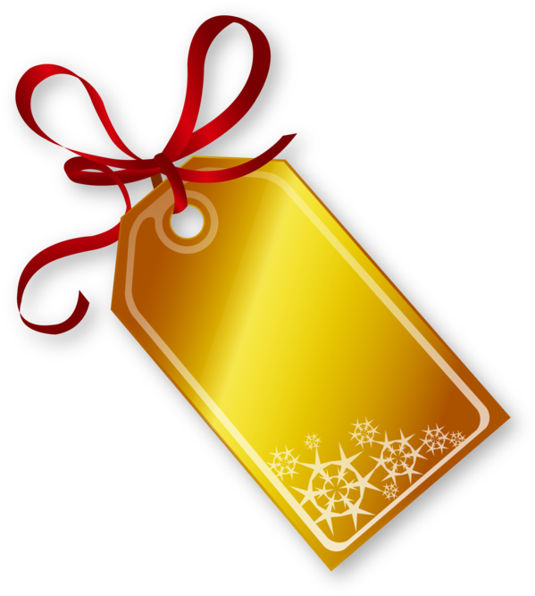 HD Golden Christmas Tag With Red Ribbon.