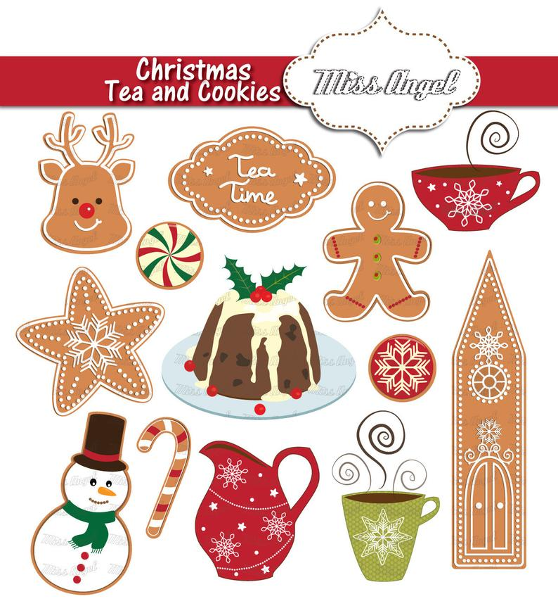 Christmas tea party clipart. Digital Christmas Clip art. Christmas pudding,  iced cookies, snowman, reindeer biscuit, Christmas tea cup.
