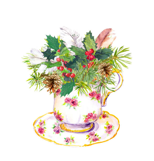 Christmas Tea Party Illustrations, Royalty.