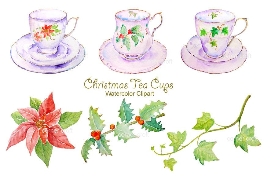 Watercolor clipart, white christmas tea cup instant download.