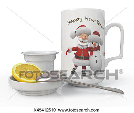 3d illustration Christmas tea set Clipart.