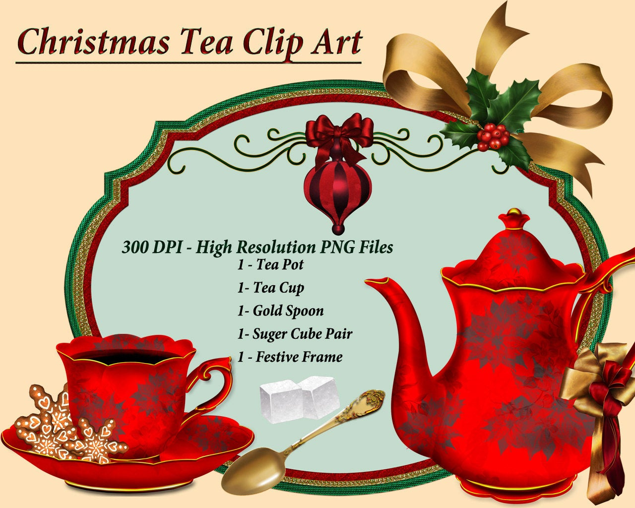 Christmas Tea Clip Art, Tea Cup Clipart, Tea Clipart.