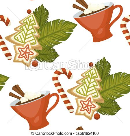 Merry Christmas coffee or tea, warm beverage seamless pattern.