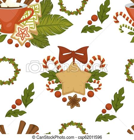 Merry Christmas coffee or tea, warm beverage seamless pattern isolated on  white vector..