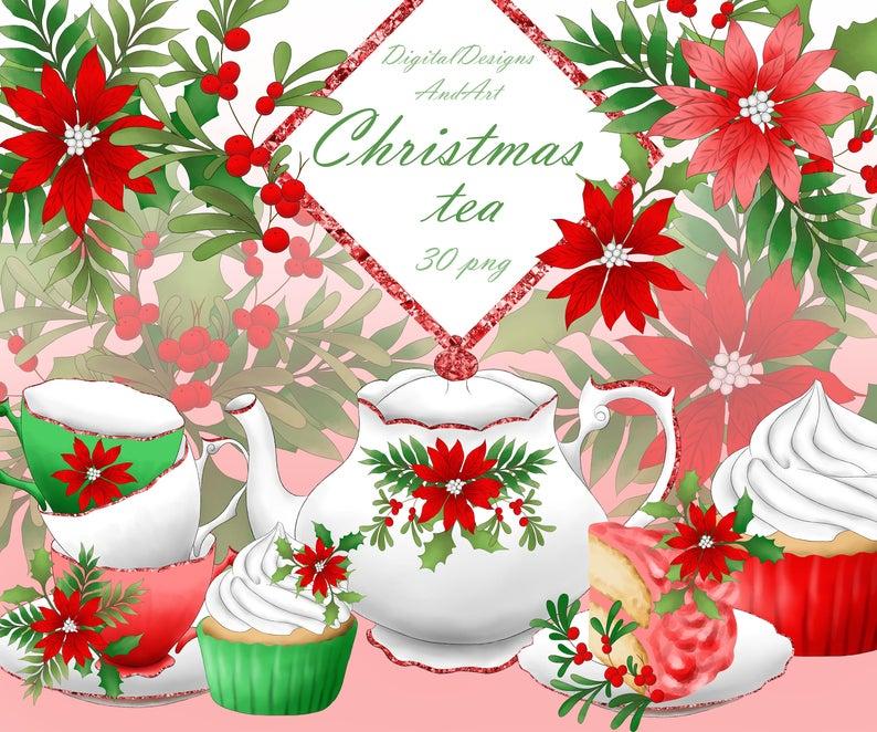Christmas tea clipart, Tea clipart, teapot clipart, Christmas clipart,  watercolor clipart, Christmas cake, Christmas flower, Cupcake clipart.