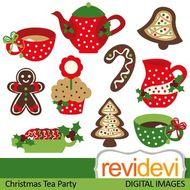 Clip art Christmas Tea Party (tea pot, tea cup, red, green, gingerbread)  08114.