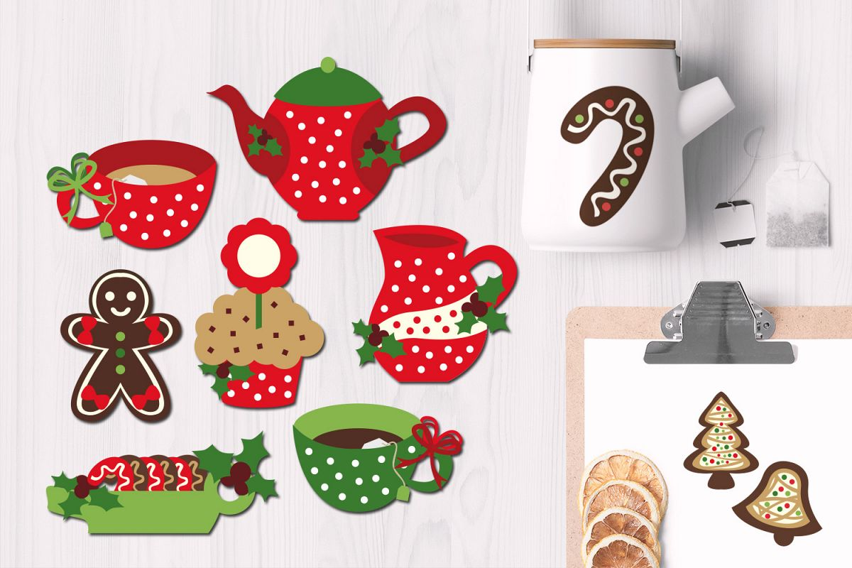 Christmas Tea Party Graphic Illustrations.
