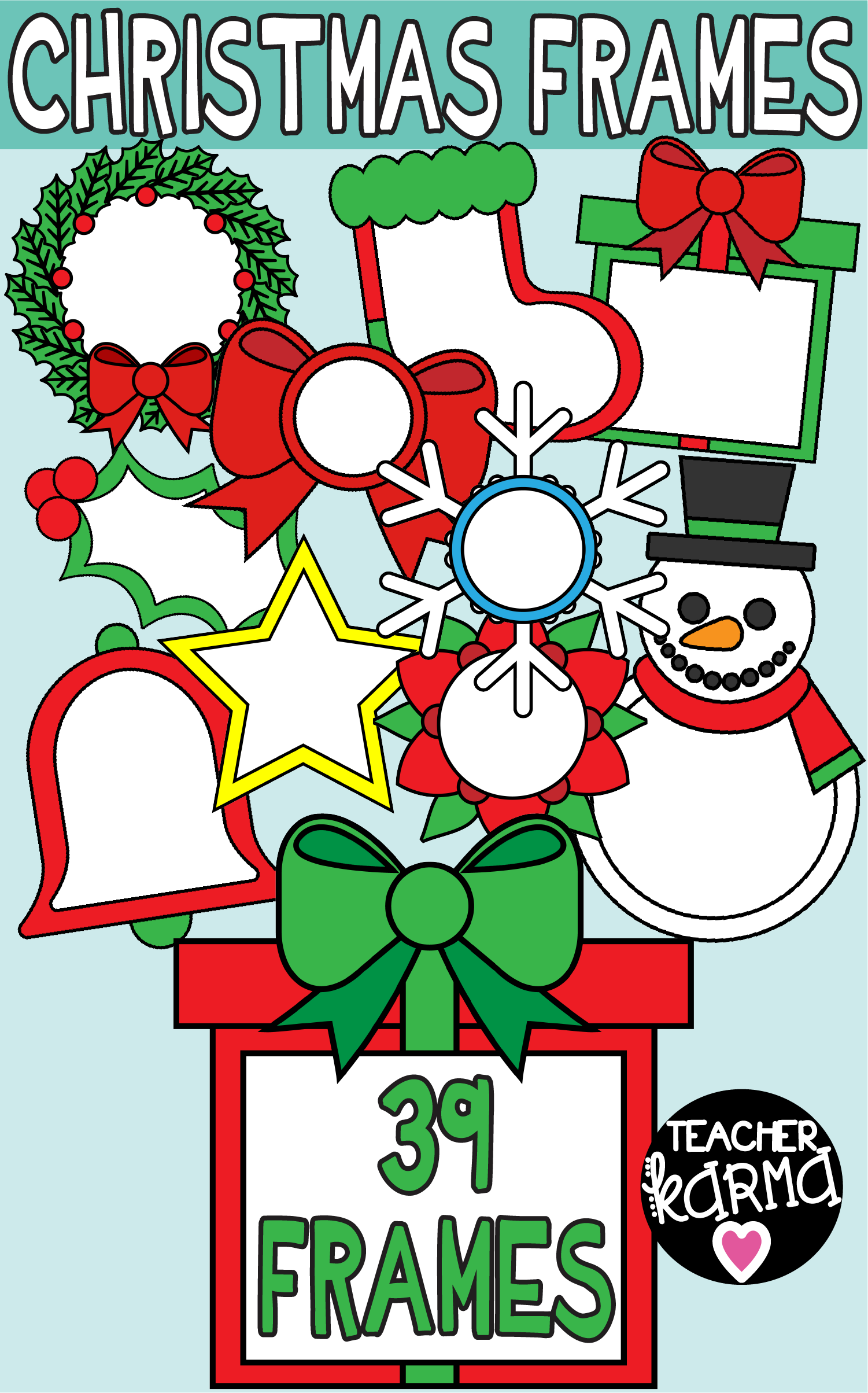 Christmas Frames Clipart, Holiday Borders.