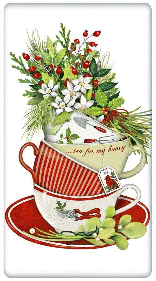 Holiday Christmas Teacups 100% Cotton Flour Sack Dish Towel.
