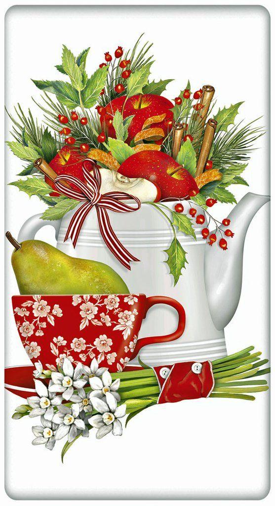 Holiday Fruit Teapot 100 0Cotton Flour Sack Dish Towel Tea Towel.