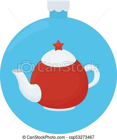 White and red teapot with red star. Cartoon llustration on blue christmas  ball.