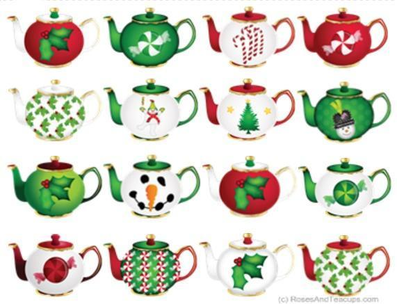 10 Christmas Tea Cups and Teapots Holiday Greeting Cards.