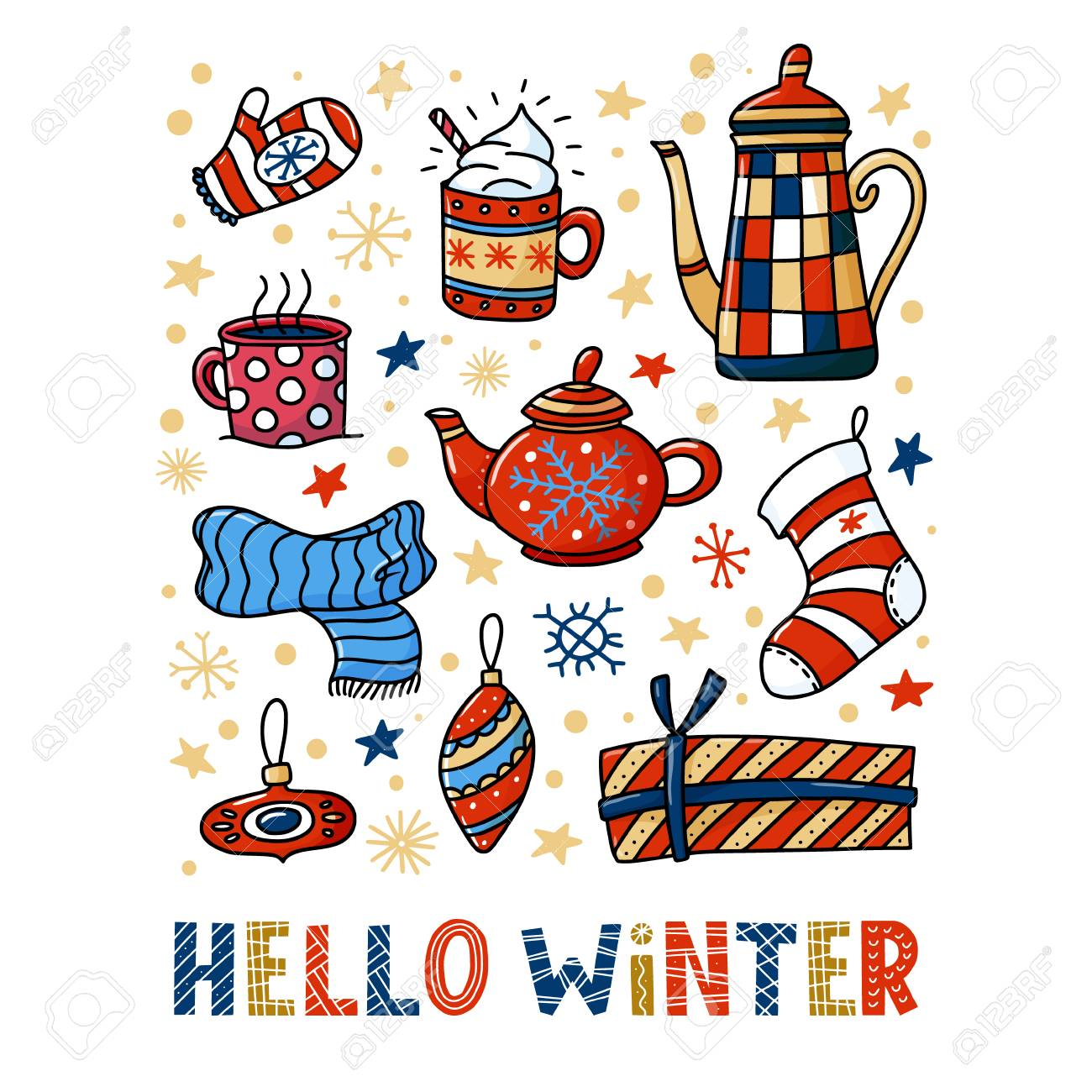 Hello Winter greeting card design with teapots and cups, Christmas...