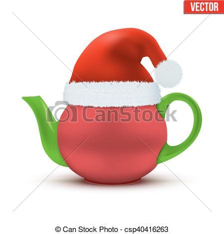 Ceramic teapot with Christmas hat of Santa.