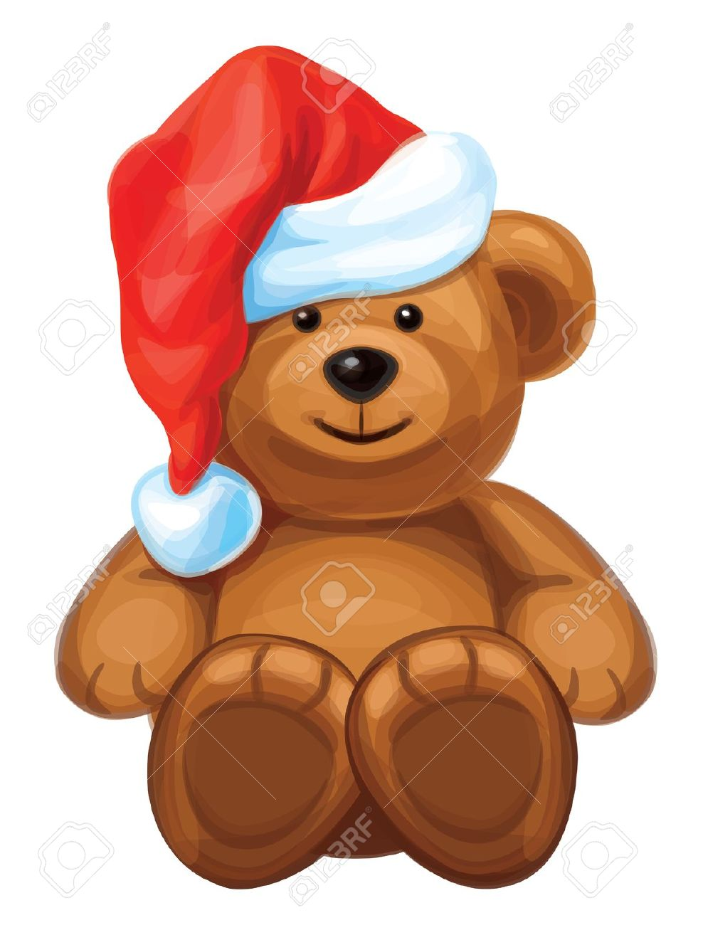 Christmas Teddy Bear Head Clipart Small.