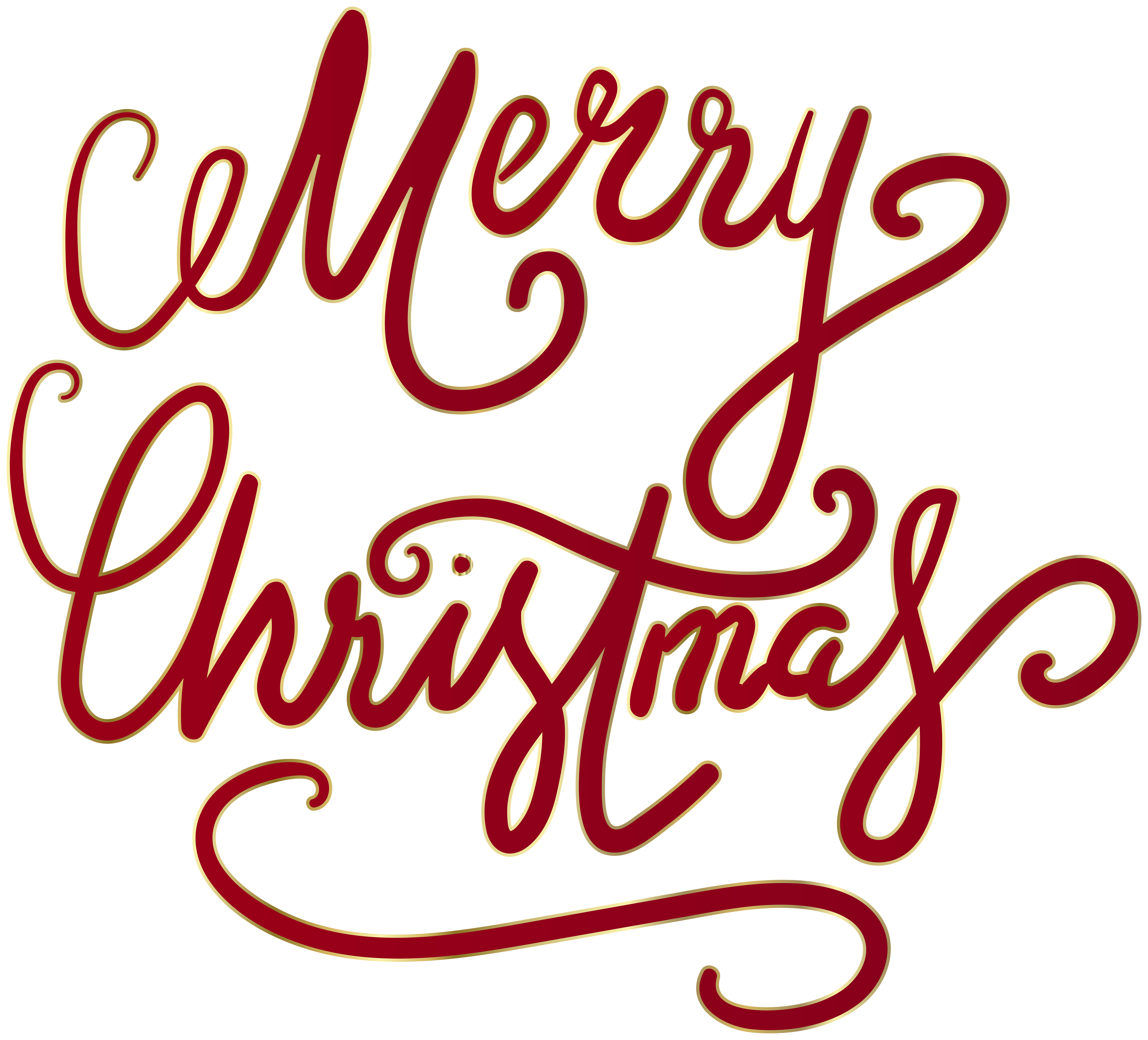 Merry Christmas Text Red Transparent Clipart.