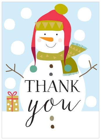 christmas thank you card for holiday gifts. thank you notes greeting.