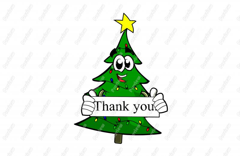 Holiday Thank You Christmas Tree clipart free image.