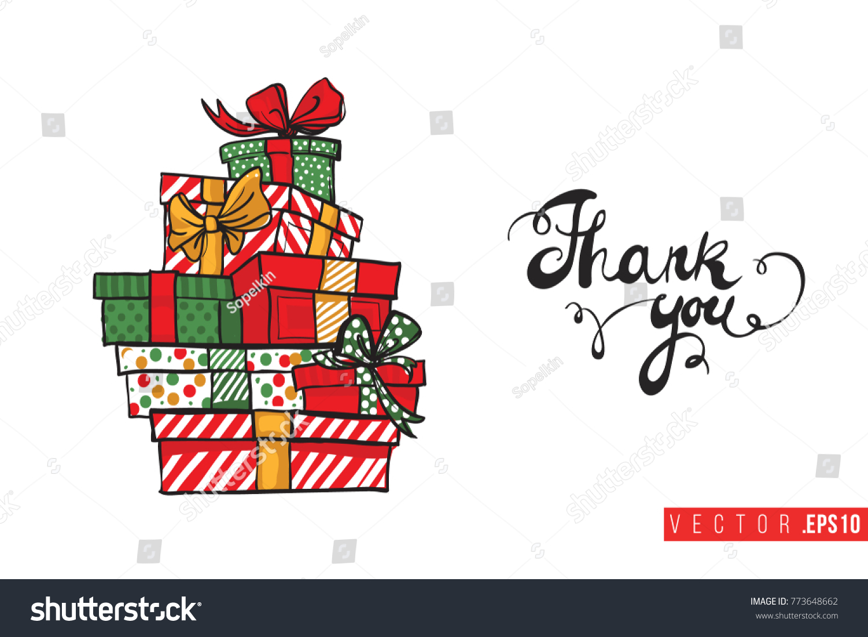 Xmas Greeting Card Tower Gifts Boxes Stock Vector (Royalty Free.