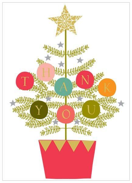Christmas thank you pack of 8 christmas tree thank you cards karenza.