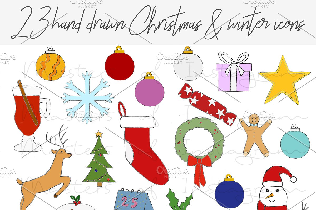 Christmas hand drawn clipart icons.