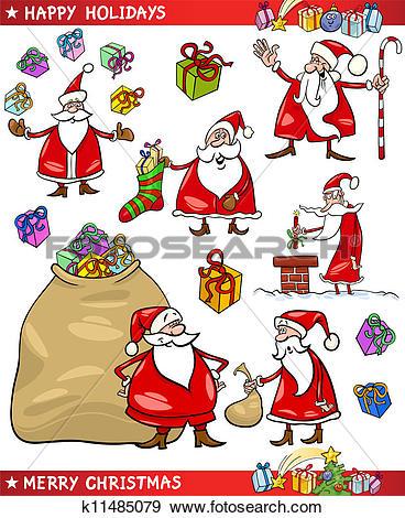 Clip Art of Cartoon Set of Santa Christmas Themes k11485079.