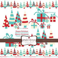 Red Blue Christmas Tree Clipart Whimsical by AbsolutelyJanie.
