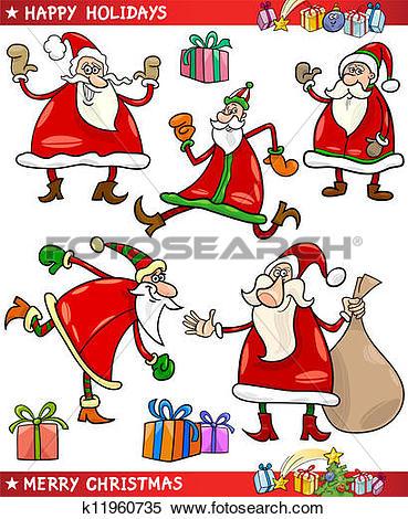 Clipart of Santa and Christmas Themes Cartoon Set k11960735.