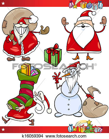 Clipart of Santa and Christmas Themes Cartoon Set k16059394.