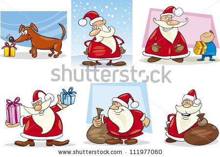 Cartoon Illustration Of Santa Clauses And Christmas Themes Clip.