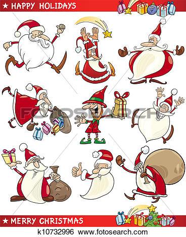 Clip Art of Cartoon Set of Christmas Themes k10732996.