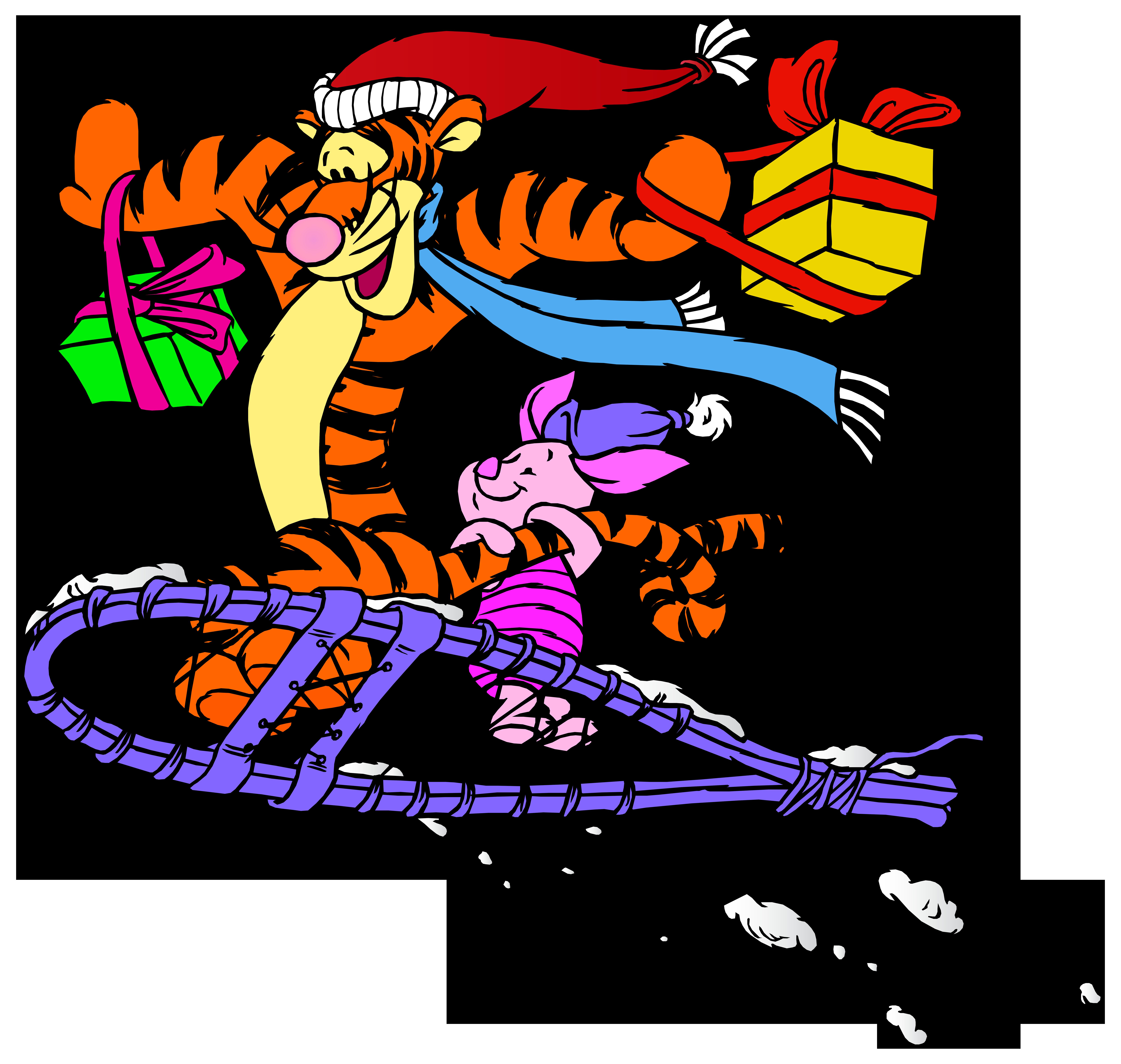 Tigger and Piglet Christmas PNG Clip Art.