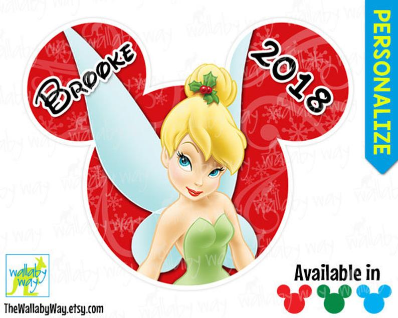 Disney Christmas Tinkerbell Printable Iron On Transfer or use as Clipart.