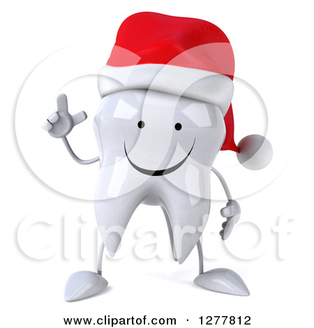 Clipart of a 3d Happy Christmas Tooth Character Welcoming.